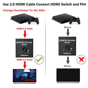 HDMI Switcher 2 Ports Bi-direction Manual Switch 2 x 1/1 x 2 HDMI Hub-HDCP Passthrough-Supports Ultra HD 4K 3D 1080P By DotStone: Home Audio & Theater