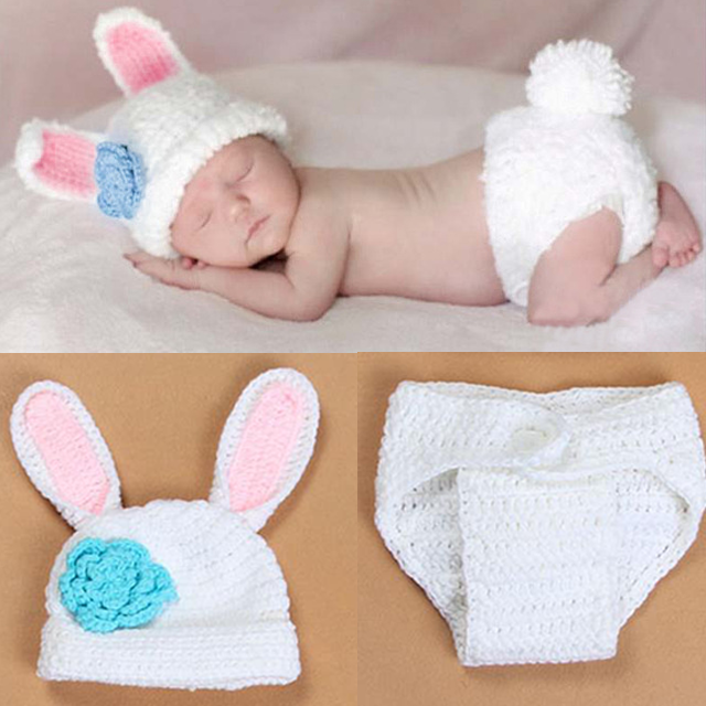 Cute Crochet Baby Bunny Hat and Diaper Cover