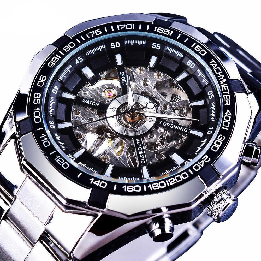Mens Luxury Stainless Steel Skeleton Watch