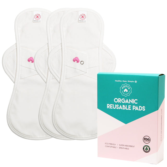 ORGANIC COTTON REUSABLE NATURAL SANITARY PAD (WING/ WHITE) SET OF 3