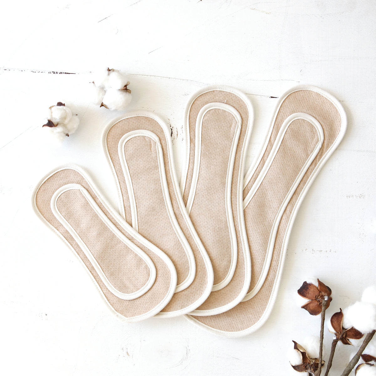 ORGANIC COTTON REUSABLE NATURAL SANITARY PAD (WING FREE/BROWN) SET OF 3