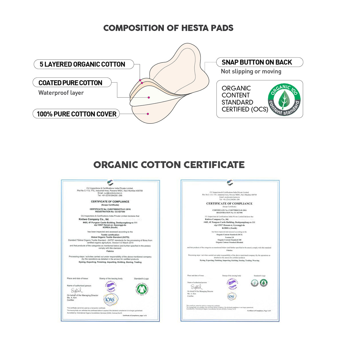 ORGANIC COTTON REUSABLE NATURAL SANITARY PAD (WING FREE/WHITE) SET OF 3