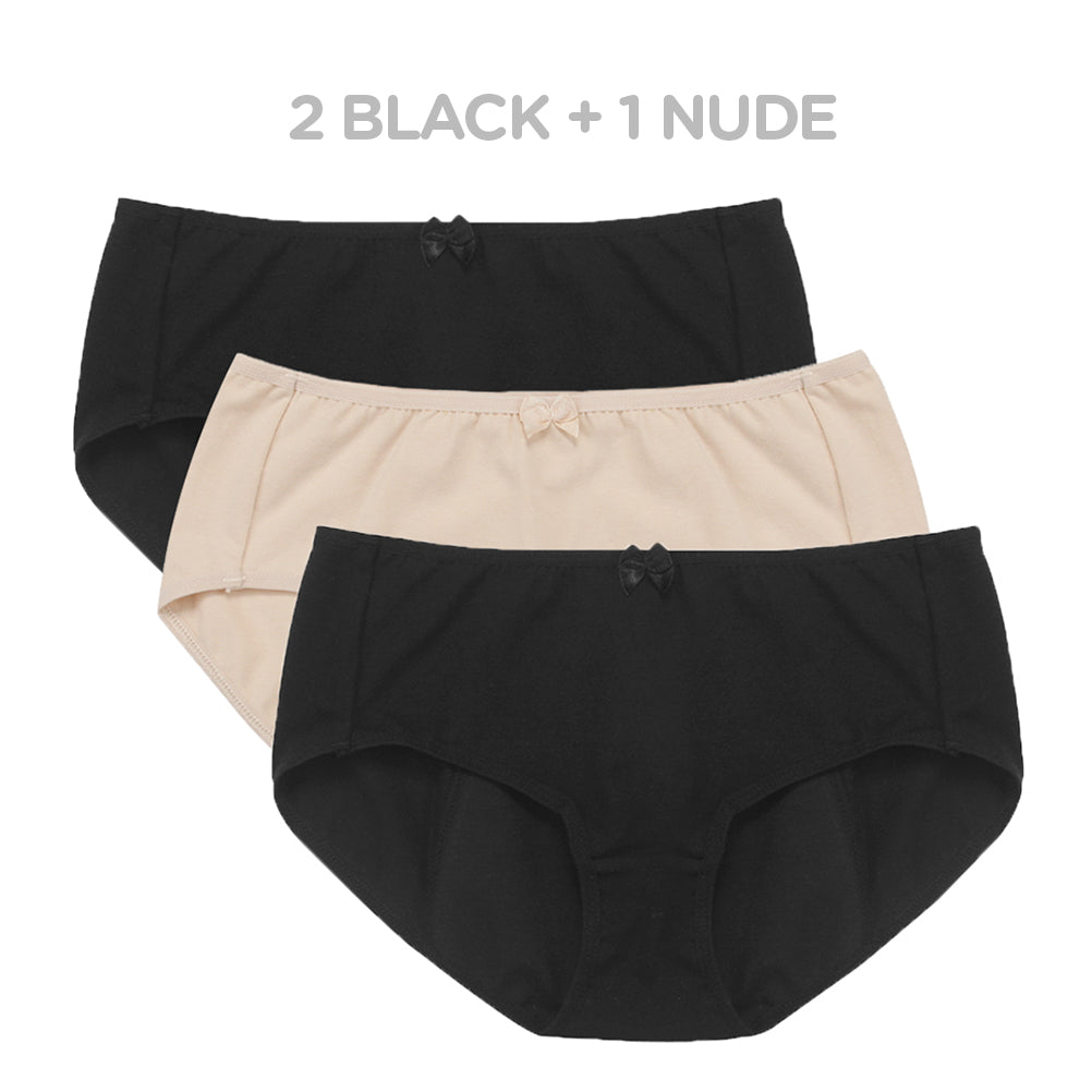 Women's Organic Cotton Basic Panties/Briefs Underwear 3 Pack