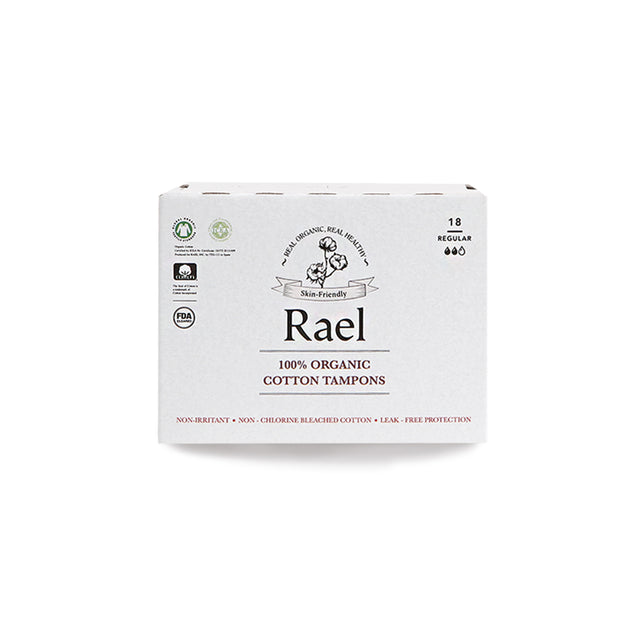 Rael Organic, Non-Chlorine Bleached Non-Applicator Tampons, REGULAR