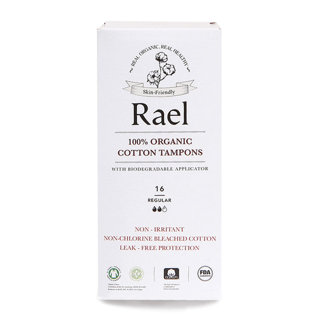 Rael Organic Tampons with Biodegradable Cardboard Applicator, REGULAR