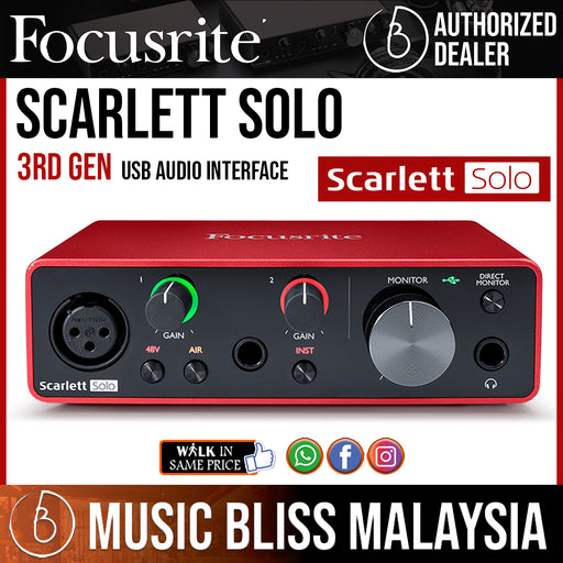 Focusrite Scarlett Solo 3rd Gen USB Audio Interface - Music Bliss Malaysia