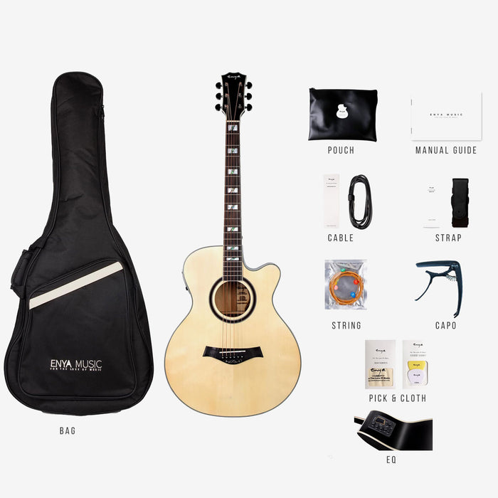 Enya EF18NACE Folk Acoustic Guitar with EQ Package, Bag and Accessories Included - Music Bliss Malaysia