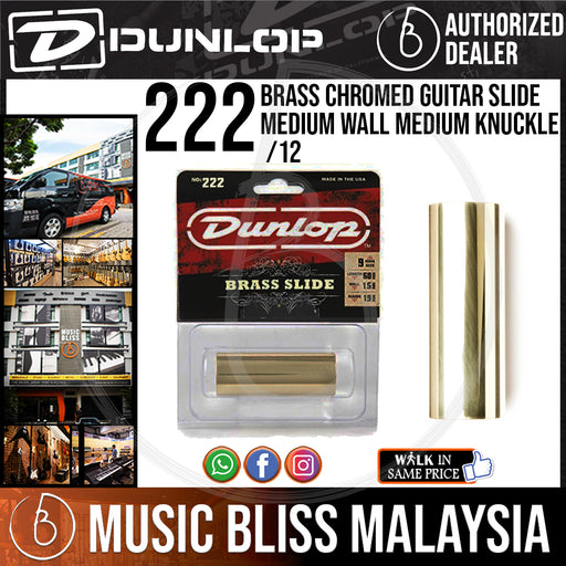 Jim Dunlop 222 Solid Brass Guitar Slide, Medium Size