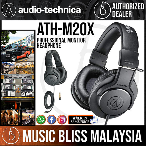 Audio Technica ATH-M20x Professional Monitor Headphone (Audio-Technica ATH M20x) *Crazy Sales Promotion* - Music Bliss Malaysia