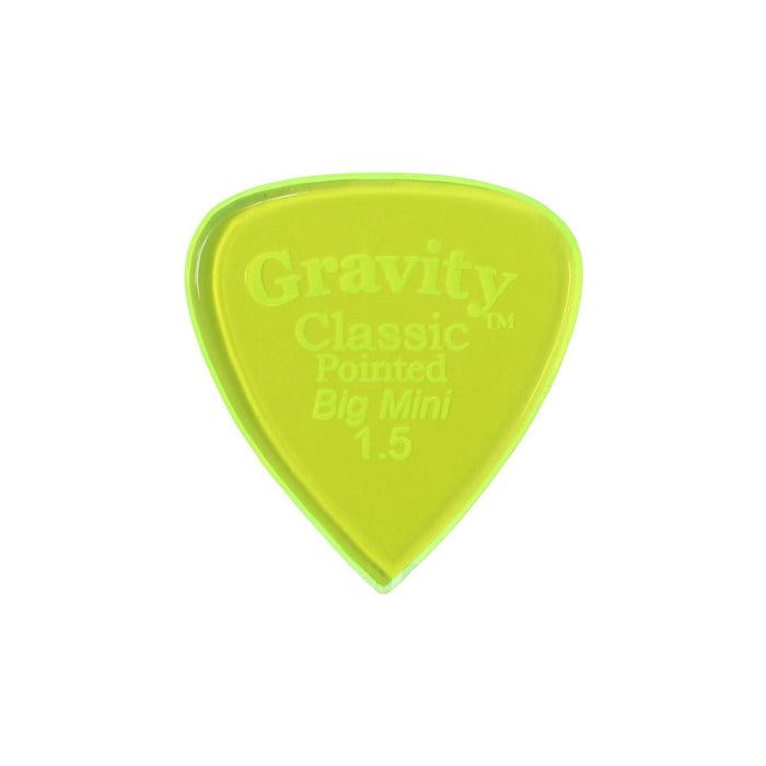 Gravity Picks GCPB15P Classic Pointed Big Mini 1.5mm Polished Fl. Green