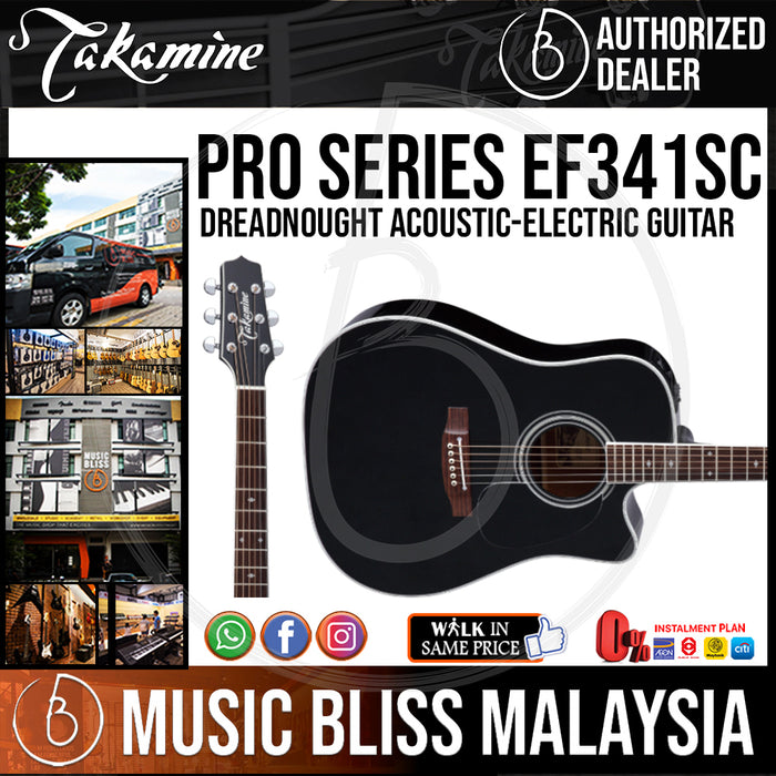 Takamine EF341SC - (Black) 6-string Dreadnought Cutaway Acoustic-Electric Guitar with Solid Cedar Top