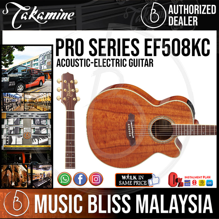 Takamine EF508KC - (Natural Gloss) 6-string Acoustic-Electric Guitar with Figured Koa Top - Music Bliss Malaysia