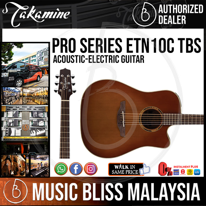 Takamine ETN10C - (Satin Tobacco Burst) 6-string Acoustic-Electric Guitar with Solid Cedar Top - Music Bliss Malaysia