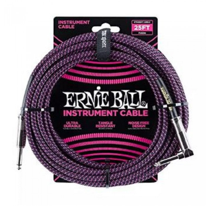 Ernie Ball 6068 25 Feet Braided Straight / Angle Instrument Cable - Black / Purple