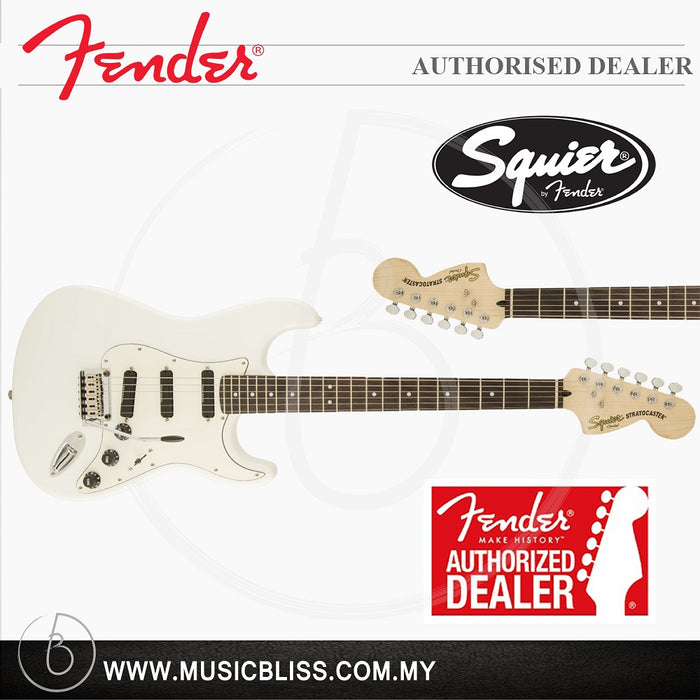 Fender Squier Deluxe Hot Rails Stratocaster 6-String Electric Guitar, Rosewood Fingerboard (Olympic White)