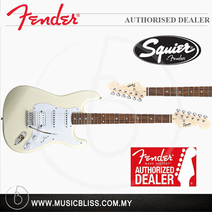 Fender Squier Bullet Stratocaster w/Tremolo HSS 6-String Electric Guitar,  Rosewood Fingerboard (Arctic White)