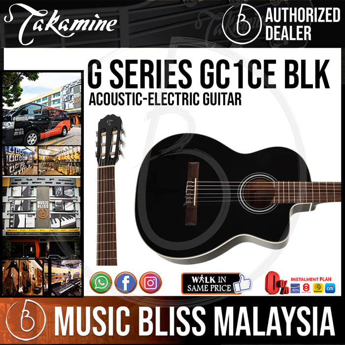 Takamine GC1CE - (Black) Nylon-string Acoustic-Electric Guitar with Spruce Top - Music Bliss Malaysia