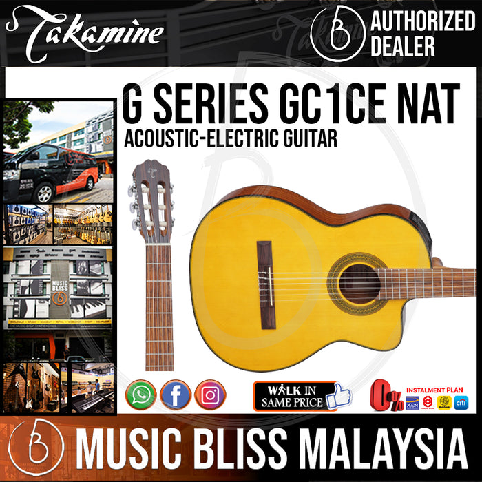 Takamine GC1CE - (Natural) Nylon-string Acoustic-Electric Guitar with Spruce Top - Music Bliss Malaysia