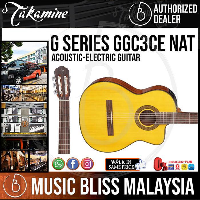 Takamine GC3CE- (Natural) Classical Cutaway Acoustic-Electric Guitar with Solid Spruce Top