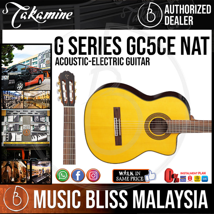 Takamine GC5CE - (Natural) Nylon-string Acoustic-Electric Guitar with Solid Spruce Top - Music Bliss Malaysia