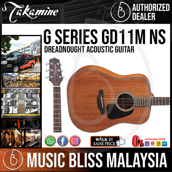 Takamine GD11M - (Natural) All Mahogany Dreadnought 6-string Acoustic Guitar - Music Bliss Malaysia