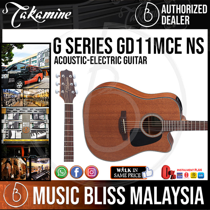 Takamine GD11MCE - (Natural) All Mahogany Dreadnought 6-string Acoustic-Electric Guitar - Music Bliss Malaysia