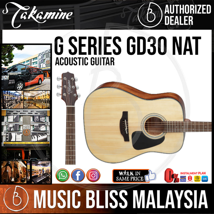 Takamine GD30 - (Natural) 6-string Acoustic Guitar with Solid Spruce Top * Crazy Sales Promotion * - Music Bliss Malaysia