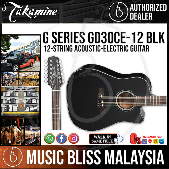 Takamine GD30CE 12-string - (Black) 12-string Acoustic-Electric Guitar with Solid Spruce Top