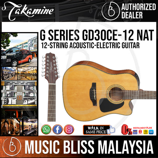 Takamine GD30CE 12-string - (Natural) 12-string Acoustic-Electric Guitar with Solid Spruce Top *RMCO Promotion* - Music Bliss Malaysia