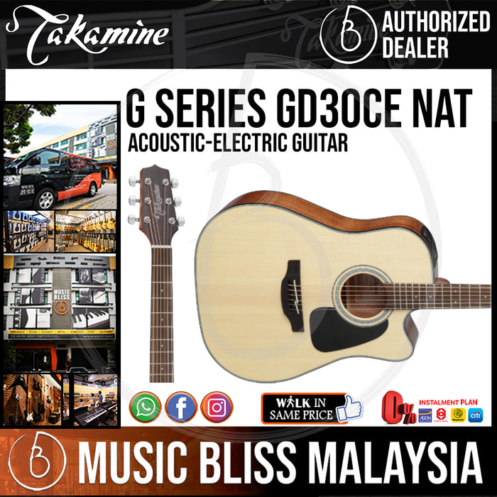 Takamine GD30CE - (Natural) 6-string Acoustic-Electric Guitar with Solid Spruce Top - Music Bliss Malaysia