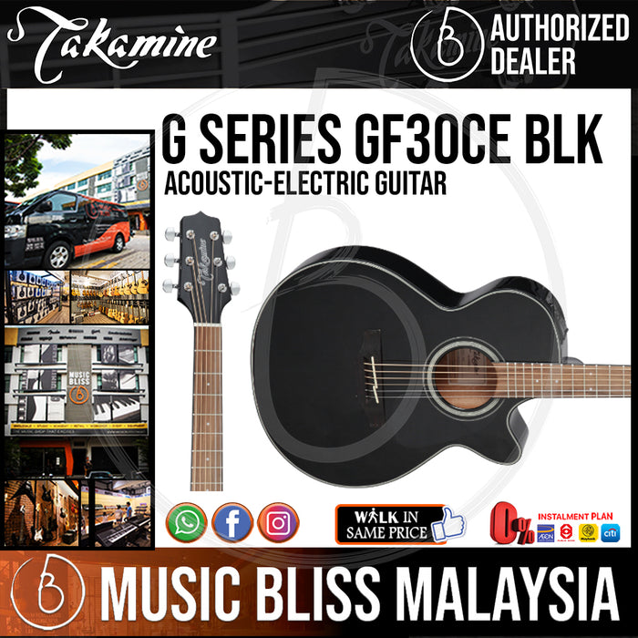 Takamine GF30CE - (Black) 6-string Acoustic-Electric Guitar with Solid Spruce Top - Music Bliss Malaysia