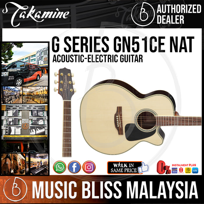 Takamine GN51CE - (Natural) 6-string Acoustic-Electric Guitar with Spruce Top - Music Bliss Malaysia