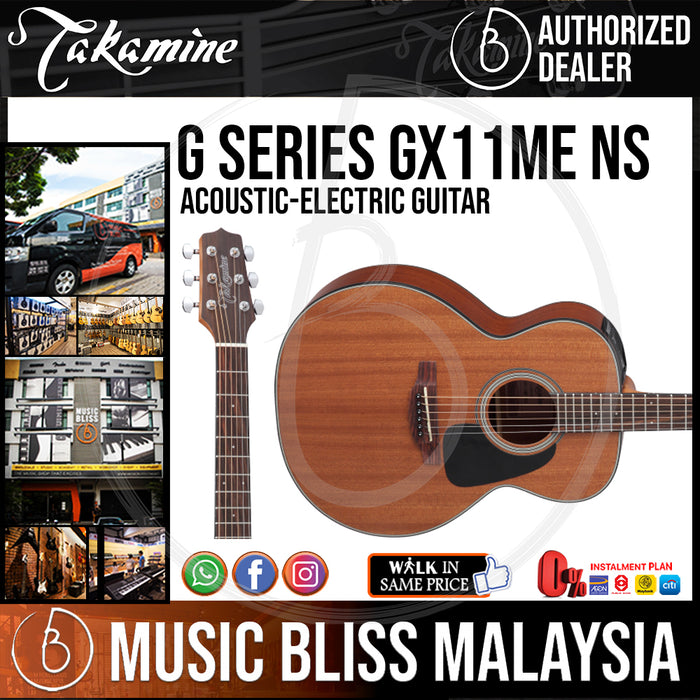 Takamine GX11ME - (Natural) All Mahogany 3/4 size 6-string Acoustic-Electric Guitar - Music Bliss Malaysia