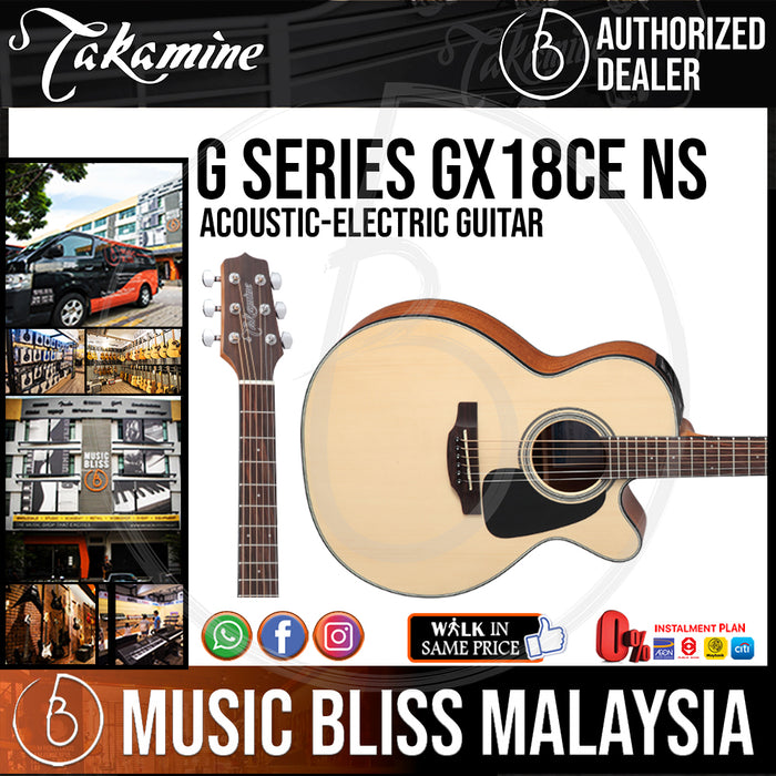 Takamine GX18CE - (Natural) 3/4 size 6-string Acoustic-Electric Guitar with Solid Spruce Top - Music Bliss Malaysia
