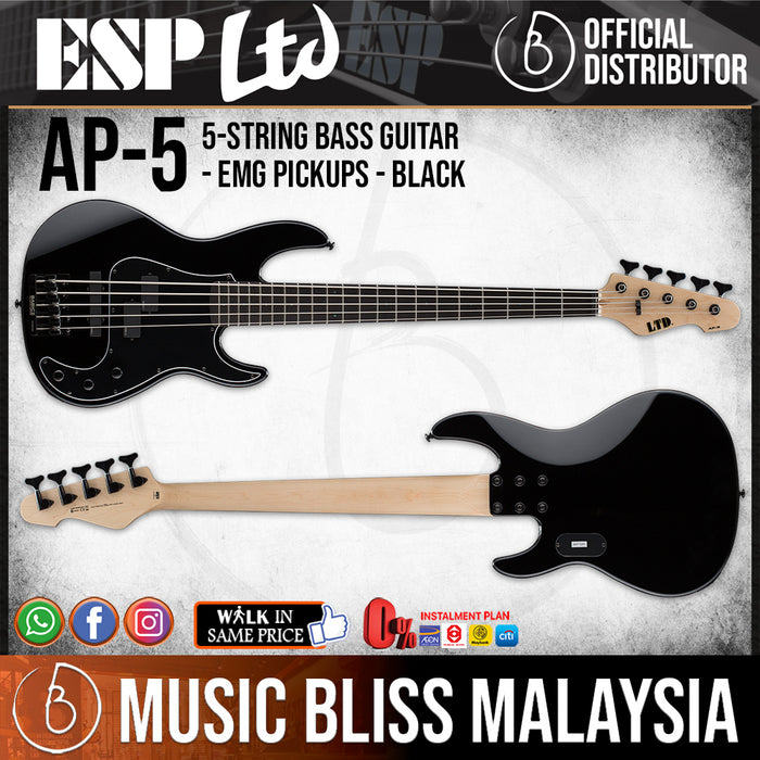 ESP LTD AP-5 Bass Guitar - Black (AP5BLK) - Music Bliss Malaysia