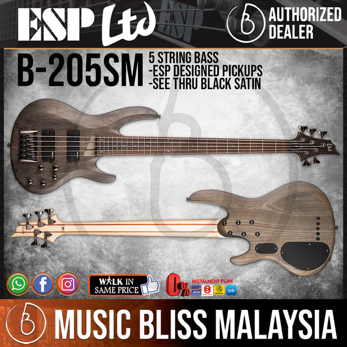 ESP LTD B-205SM 5-String Bass - See Thru Black Satin (B205SMSTBLKS) *Crazy Sales Promotion* - Music Bliss Malaysia