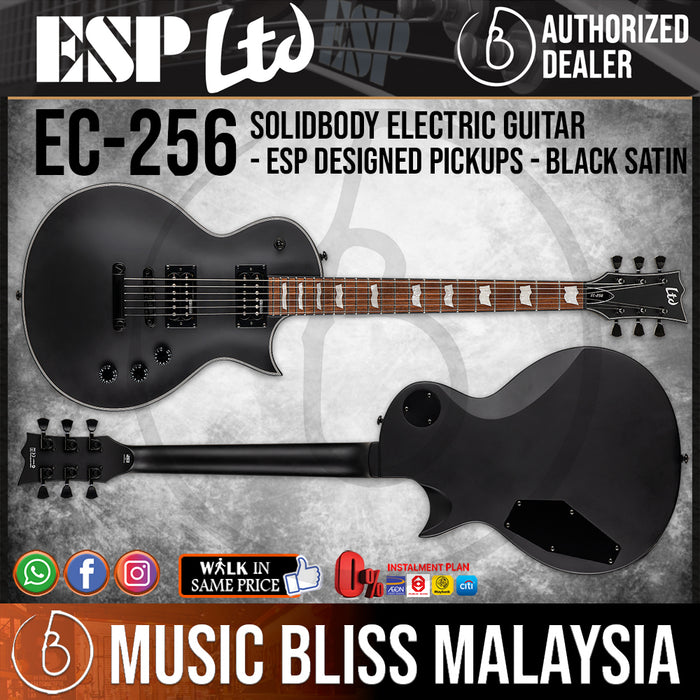 ESP LTD EC-256 Electric Guitar - Black Satin (EC256BLKS) - Music Bliss Malaysia
