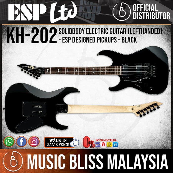 ESP LTD KH-202 Kirk Hammett Signature Left Handed Electric Guitar - Black (KH202LH) *Crazy Sales Promotion* - Music Bliss Malaysia