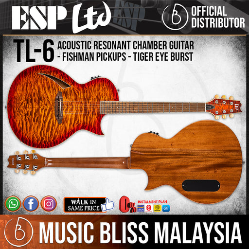 ESP LTD TL-6QM Acoustic-Electric Guitar - Tiger Eye Burst (TL6QMTEB)