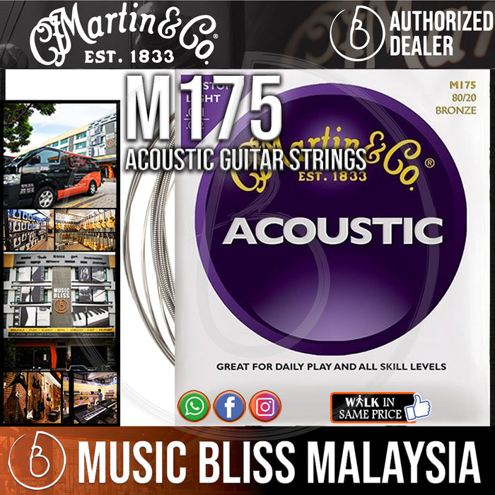 Martin M175 Traditional Bronze Custom Light Acoustic Guitar Strings - Music Bliss Malaysia