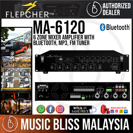 Flepcher MA-6120 6 Zone Mixer Amplifier with Bluetooth, MP3, FM Tuner (MA6120 / MA 6120) - Music Bliss Malaysia