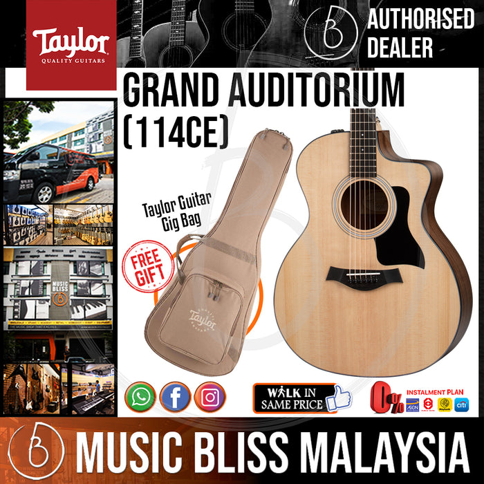 Taylor 114ce Grand Auditorium - Cutaway, Electronics, Natural with Bag (114-CE / 114 CE) *Crazy Sales Promotion* - Music Bliss Malaysia