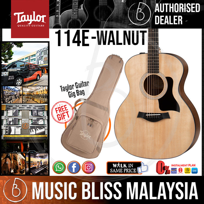 Taylor 114e - Layered Walnut Back and Sides with Bag (114-e / 114 e) *Crazy Sales Promotion* - Music Bliss Malaysia