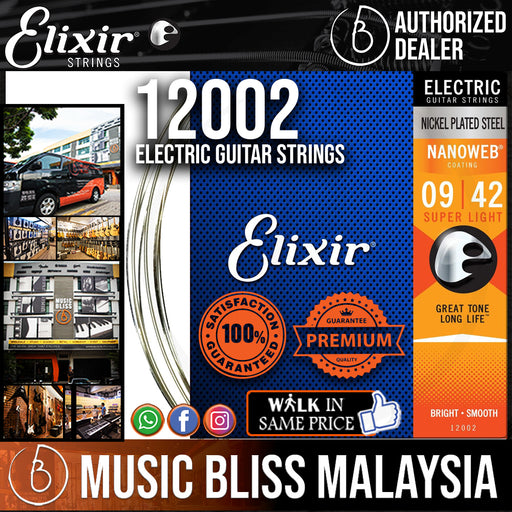Elixir Strings Nanoweb Electric Guitar Strings .009-.042 Super Light - Music Bliss Malaysia