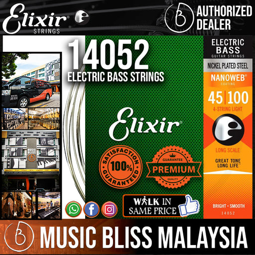 Elixir Strings Nanoweb Light Long Scale Electric Bass Strings .045-.100 - Music Bliss Malaysia
