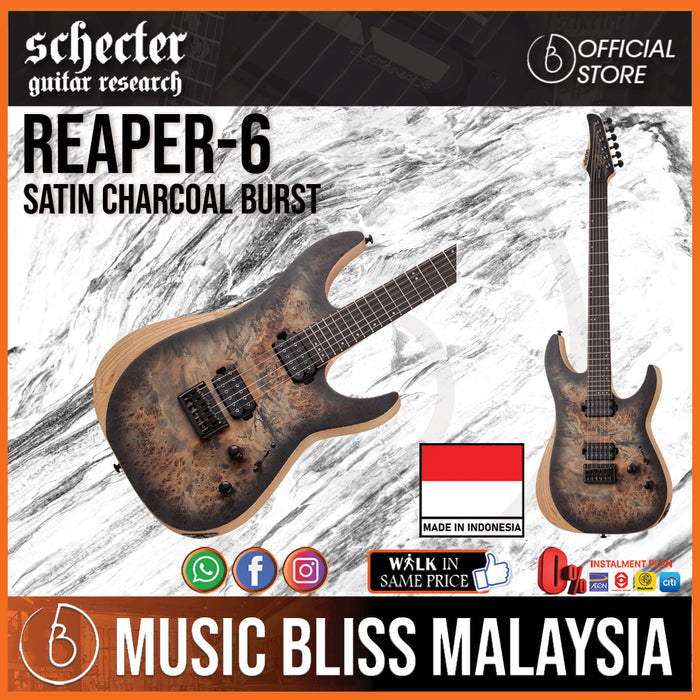 Schecter Reaper-6 with Set Neck - Charcoal Burst (Reaper6 / Reaper 6) [MII] (Until 31st December 2020) - Music Bliss Malaysia