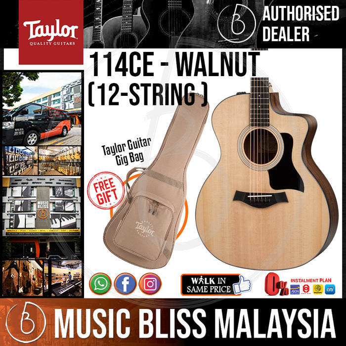 Taylor 150e 12-string - Layered Walnut Back and Sides with Bag (150-e / 150 e) *Crazy Sales Promotion* - Music Bliss Malaysia