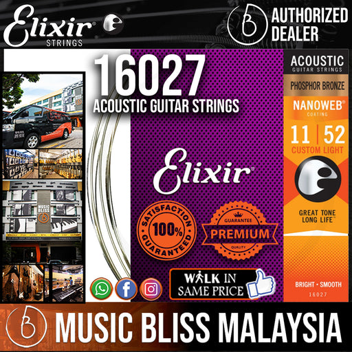 Elixir Strings Nanoweb Phosphor Bronze Acoustic Guitar Strings .011-.052 Custom Light - Music Bliss Malaysia