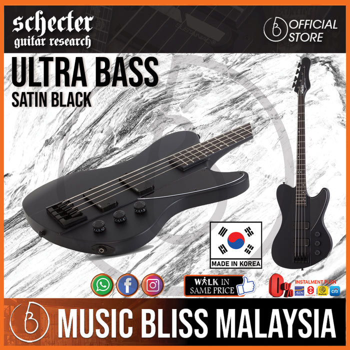 Schecter Ultra Bass Guitar - Satin Black (MIK) - Music Bliss Malaysia