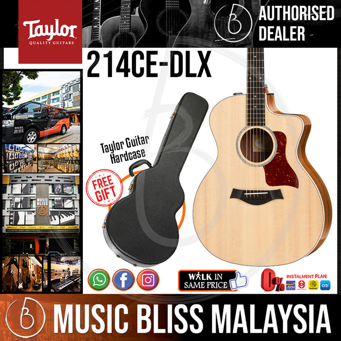Taylor 214ce Deluxe - Natural w/ Layered Rosewood Back & Sides with Hardcase (214ceDLX / 214ce DLX) *Crazy Sales Promotion* - Music Bliss Malaysia